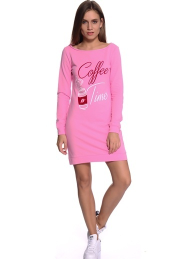 T-Box Yazı Baskılı Mini Elbise Pembe